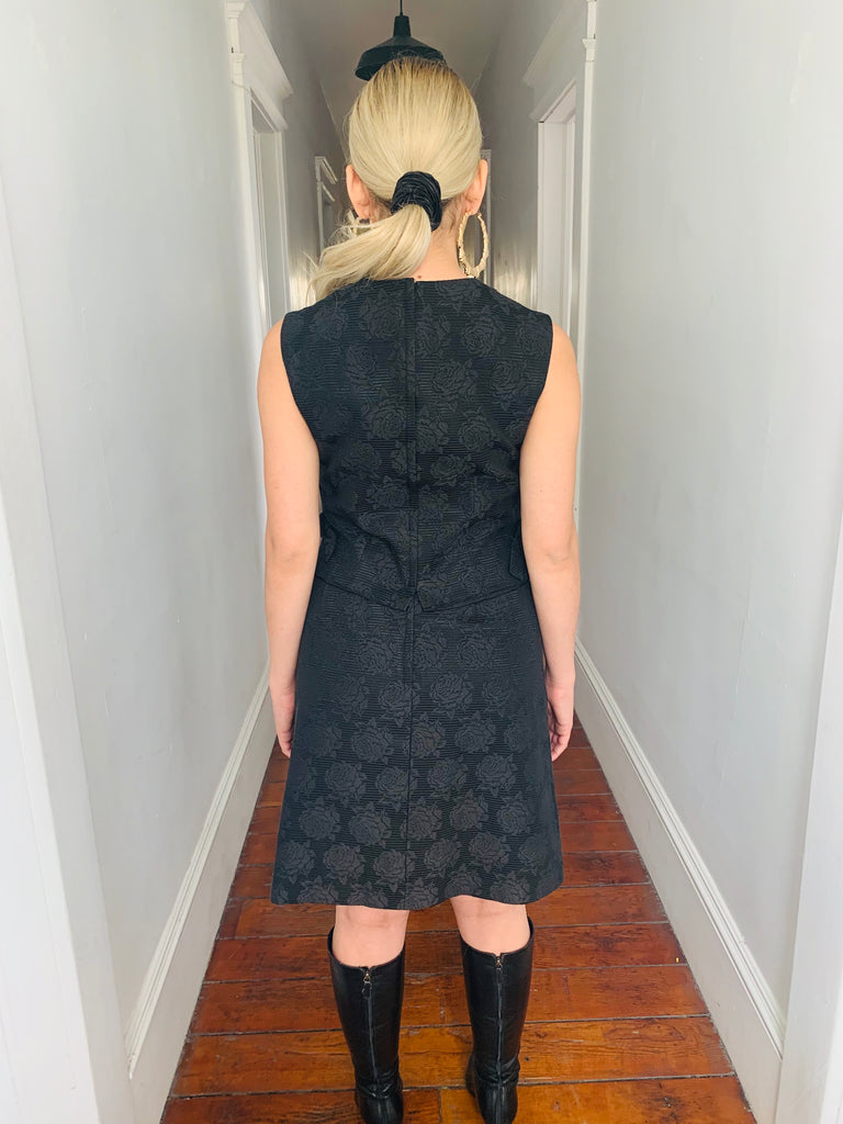 Ribbed Rosed Embossed Dress