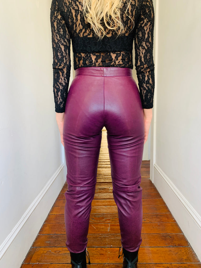 Plum Leather Pants