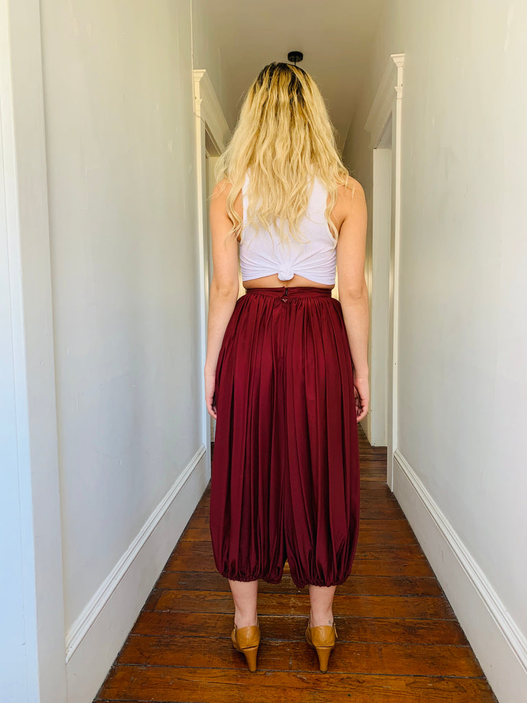 Silk Pleated Balloon Pants