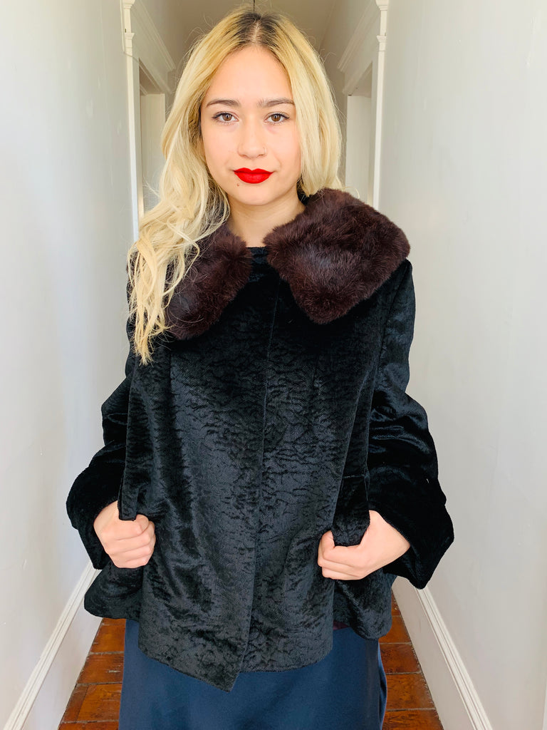 Vintage Velvet Coat w/ Fur Collar