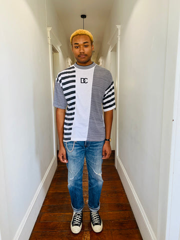 Vintage Striped Mock Neck Tee