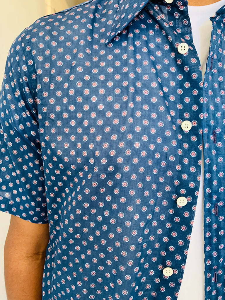Blue Printed Pointed Collar Shirt