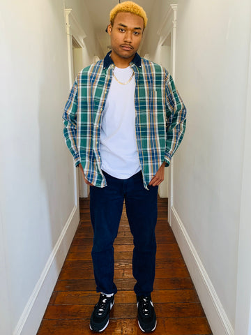 Plaid Button-Up w/ Denim Collar