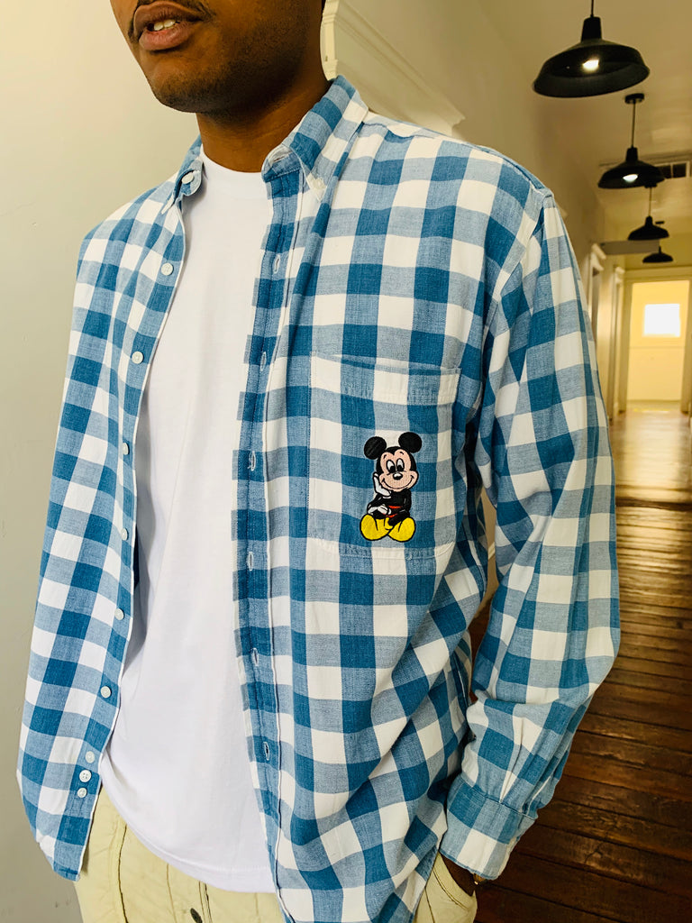 Gingham Mickey Button-Up