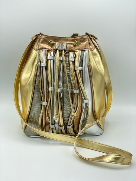 Metallic Triple-Tone Bucket Bag