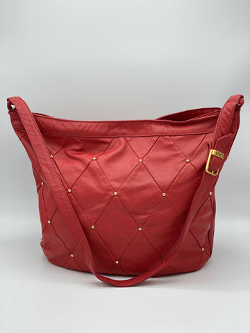 Red Quilted Studded Shoulder Bag