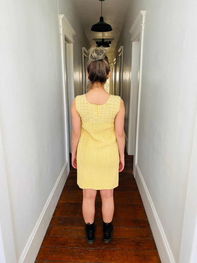 Soft Yellow Crochet Shift Dress