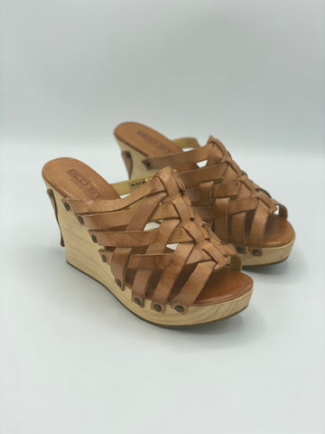 Leather Woven Wedges