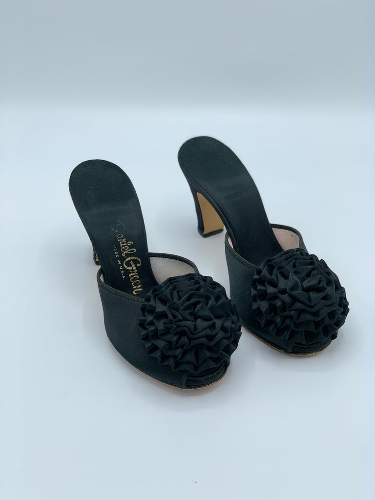 Daniel Green Pom Pom Black Satin Mules