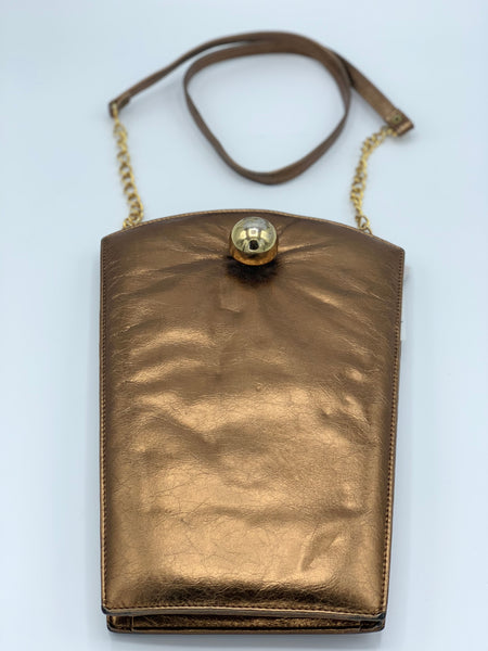 Leather Structured Copper Tone Bag