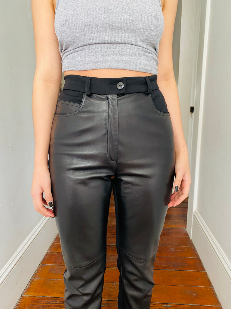 Escada Leather Paneled Pants