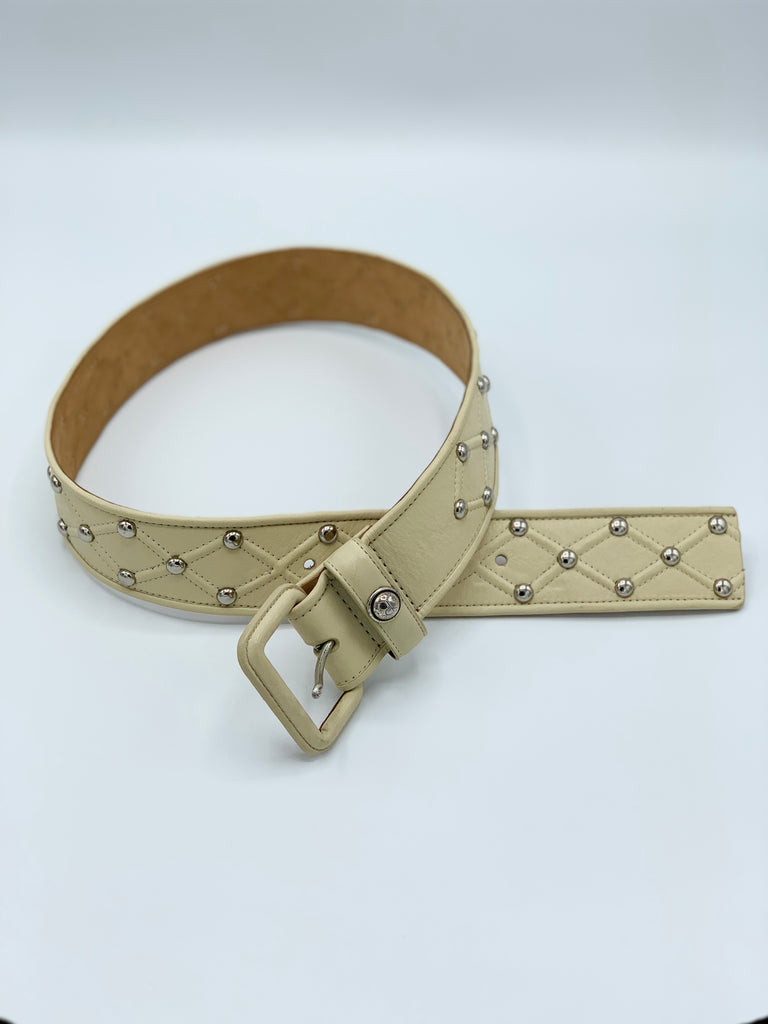 Bone Colored Studded CK Leather Belt