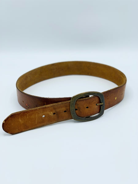 70s Embossed Leather Belt w/ Butterflies