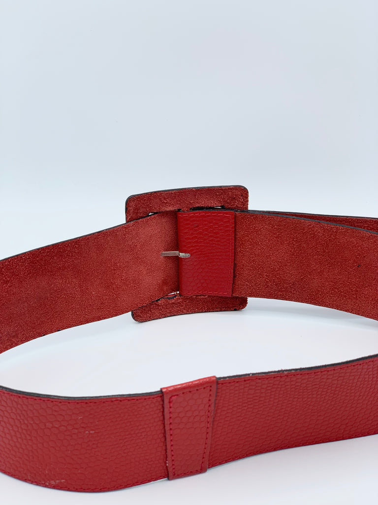 Thick Red Snake Texture Statement Belt