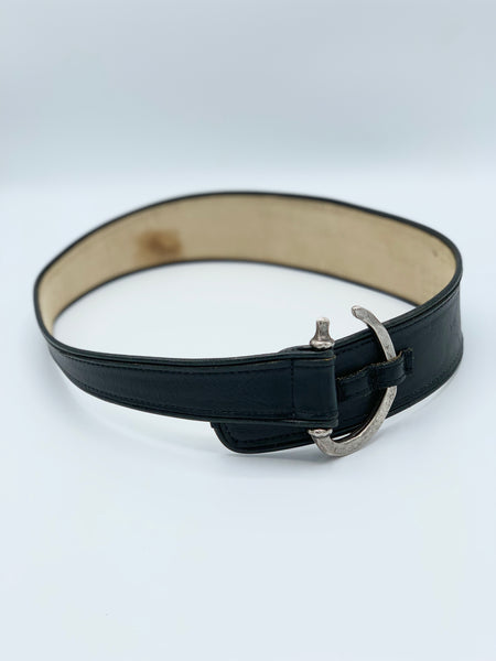Vintage Black and Metal Hook Belt