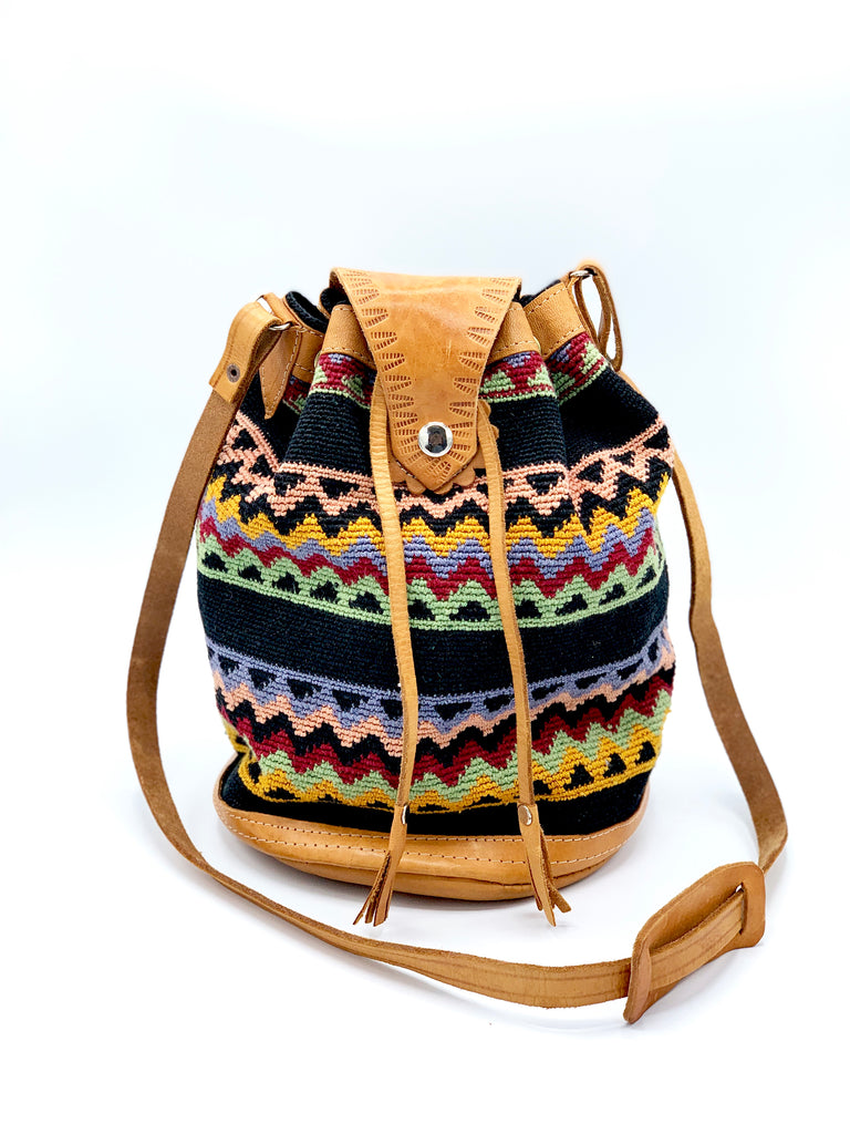 Woven Multi-colored Bucket Bag
