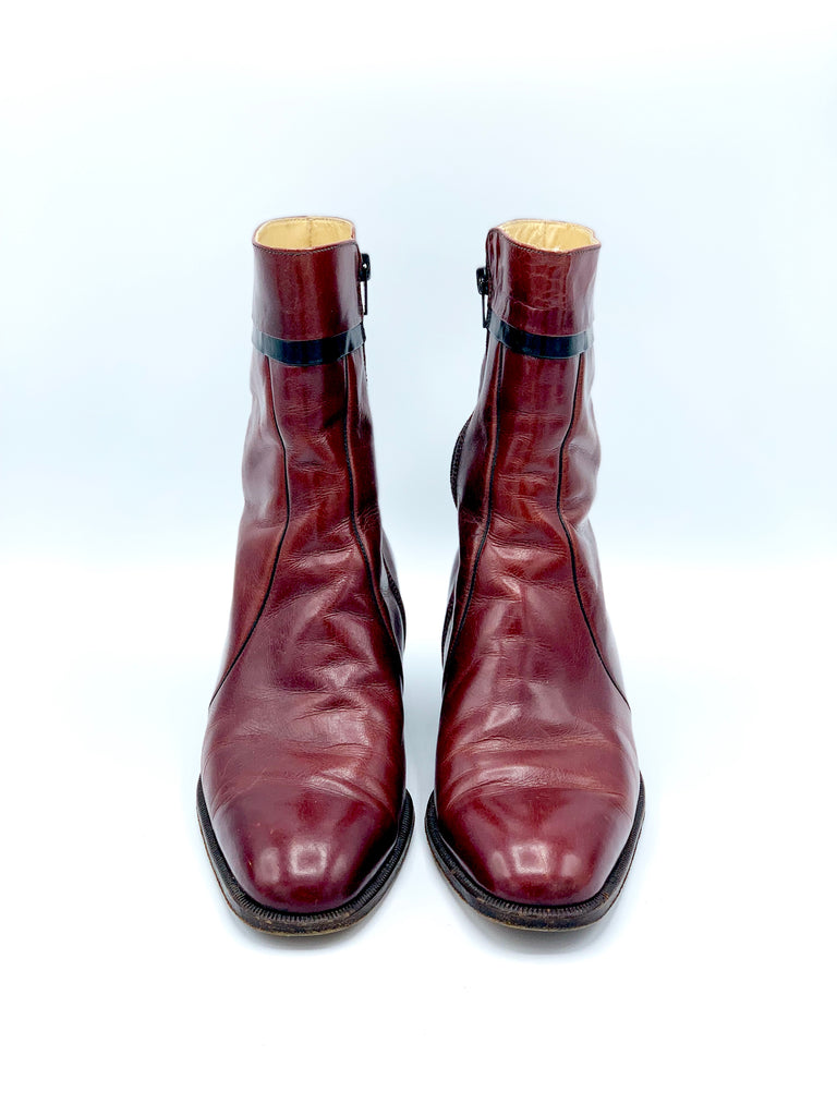 BLOOD RED ANKLE BEATLE BOOTS