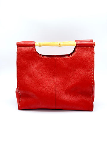 Crimson Red Bamboo Hand Bag