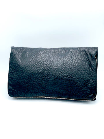 Pebbled Leather Zip Clutch