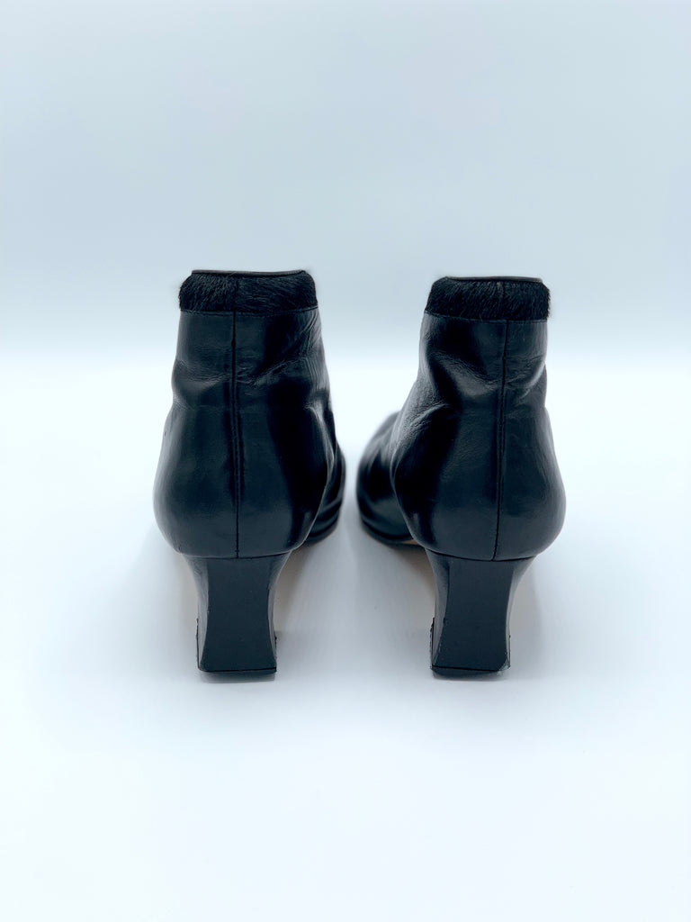 Stefani Leather Pony Hair Booties