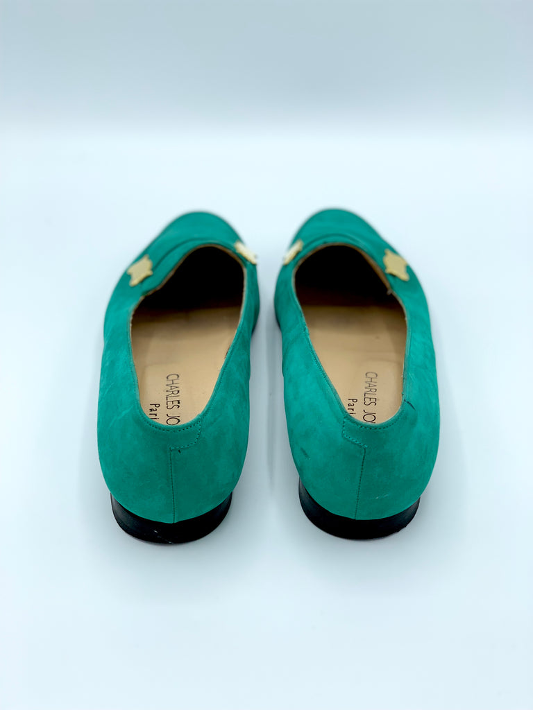 Jade Green Suede Loafers