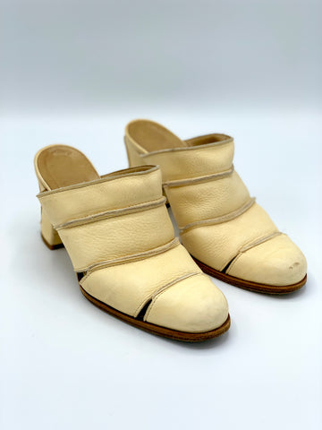 Leather Ribbed Mules