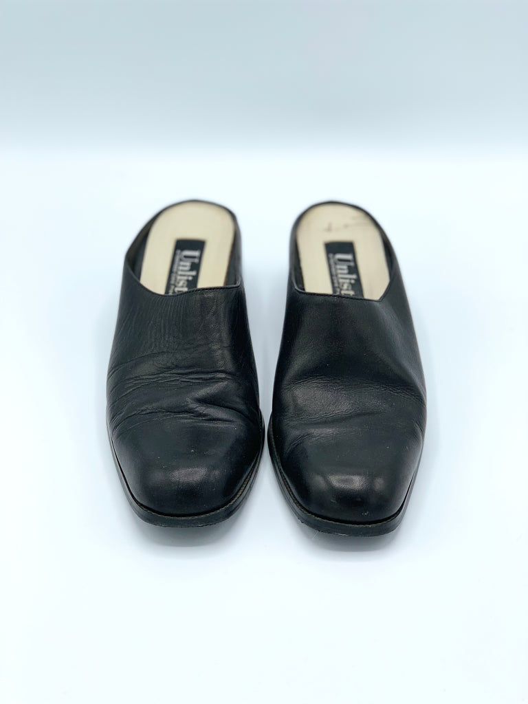 Black Leather 90's Mules