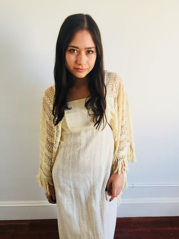 Cream 60s Woven Epic Bell Sleeve w/ Fringe Maxi Dress