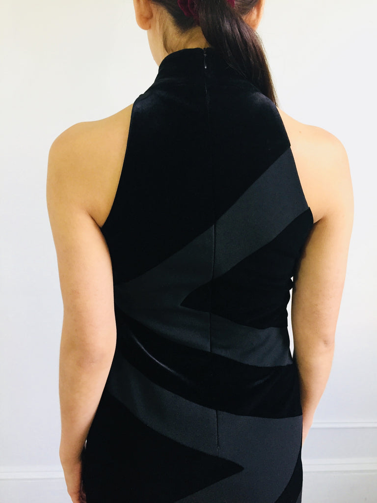 Black Sleeveless Mock Neck Geometric Satin and Matte Dress