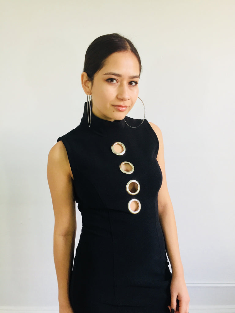 Black Body Con Dress w/ Grommet Cut Out Details
