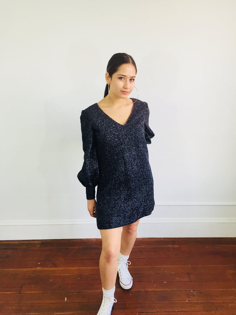Fun Sparkly and Sexy Navy Shift Dress w/ Billowed Sleeves