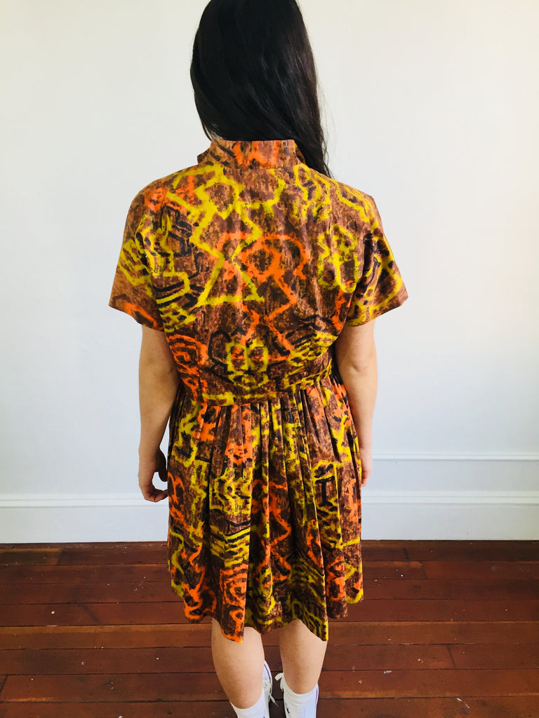 Orange Yellow and Black Abstract Patterned 2pc Jacket and Dress