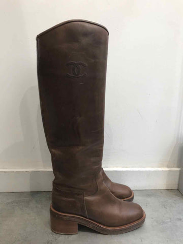 Bottes Chanel marrons T.37,5