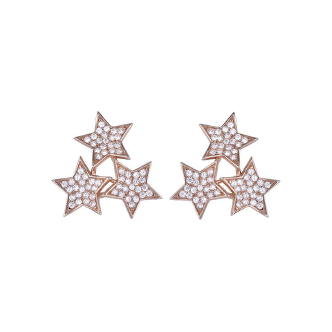 Large Three Star Earrings