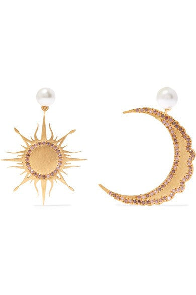 Large Moon & Sun Pearl Earrings