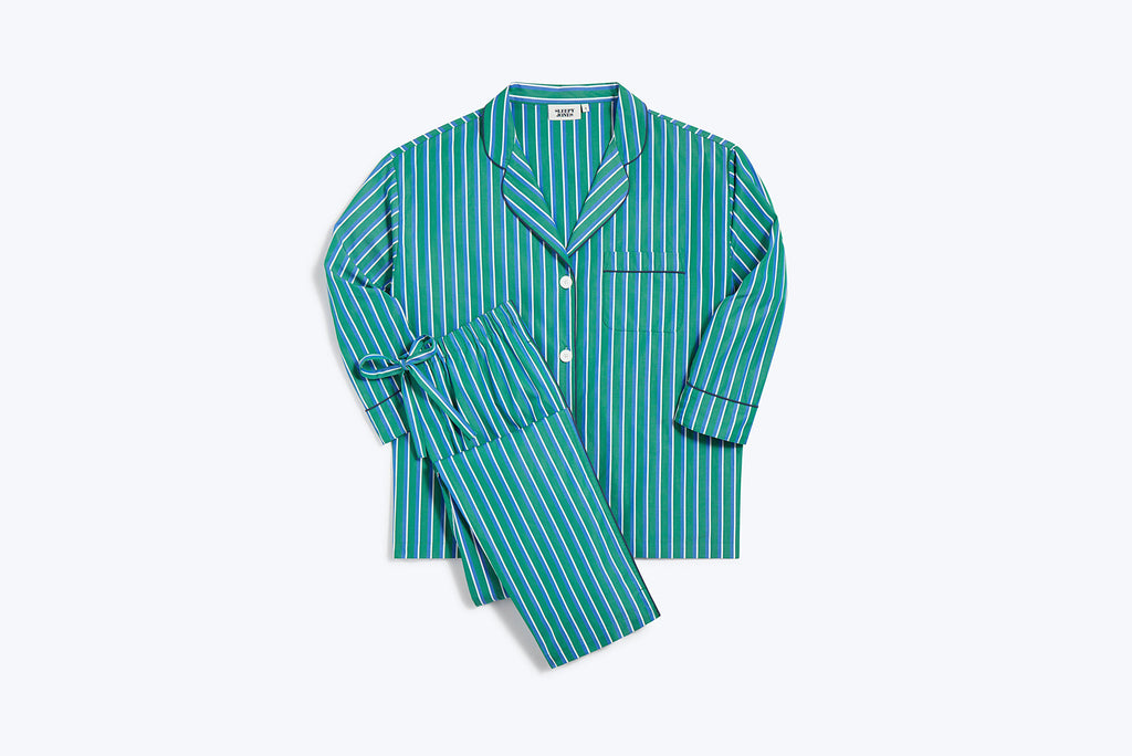 SLEEPY JONES | Marina Pajama Set in Green, Blue, & White Shadow Stripe