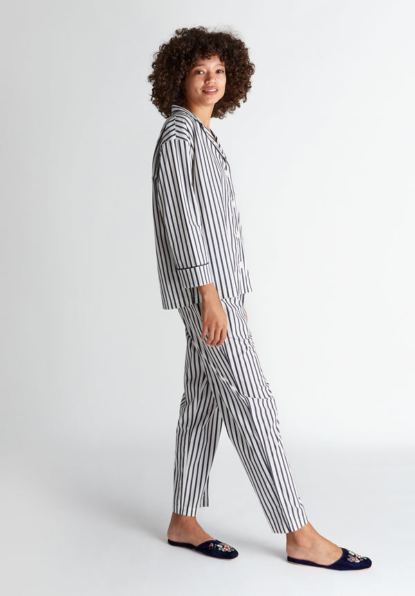 SLEEPY JONES | Marina Pajama Set Navy & Cream Breton StripeSLEEPY JONES | Marina Pajama Set Navy & Cream Breton Stripe