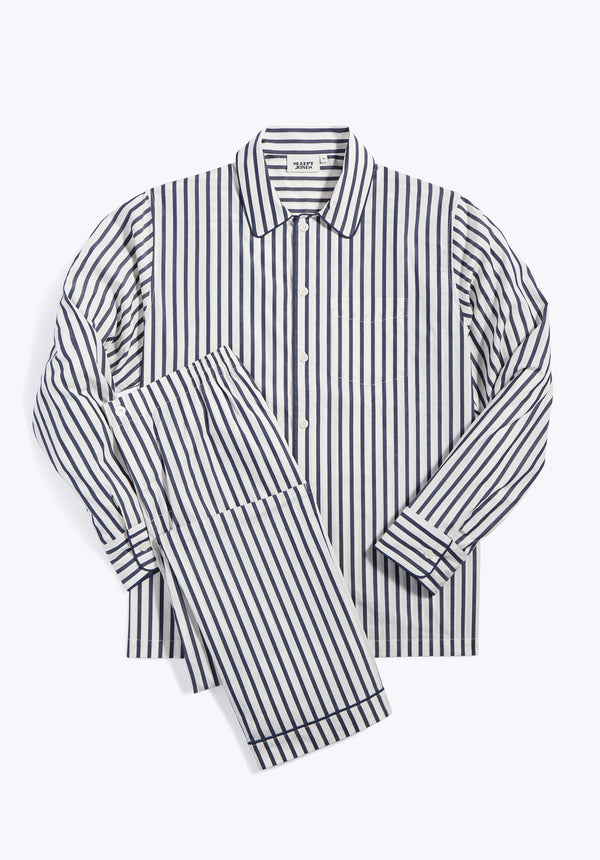 SLEEPY JONES | Henry Pajama Set Navy & Cream Breton Stripe