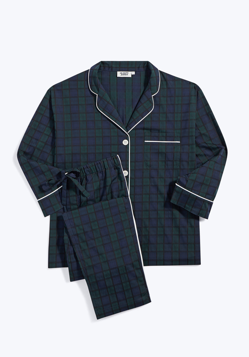 SLEEPY JONES | Marina Pajama Set Black Watch Jacquard Green