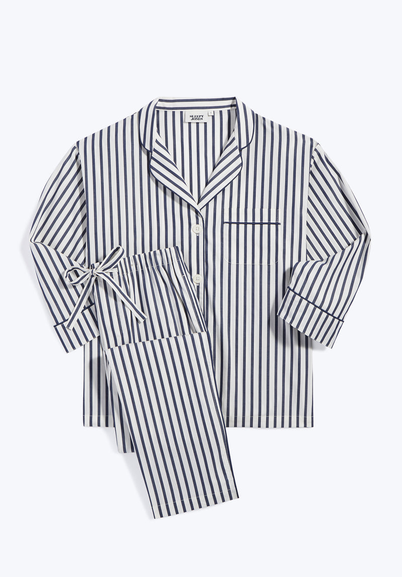 SLEEPY JONES | Marina Pajama Set Navy & Cream Breton Stripe