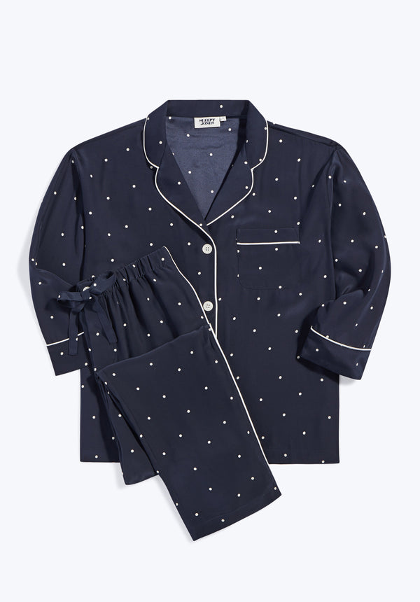 SLEEPY JONES | Marina Pajama Set Washable Silk Scattered Navy Dot