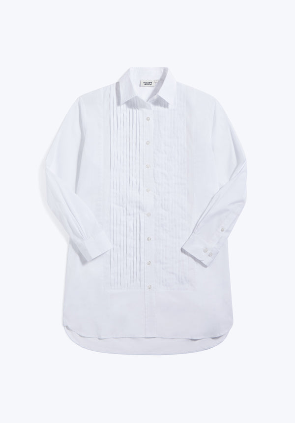 SLEEPY JONES | Crosby Tuxedo Nightshirt White End on End