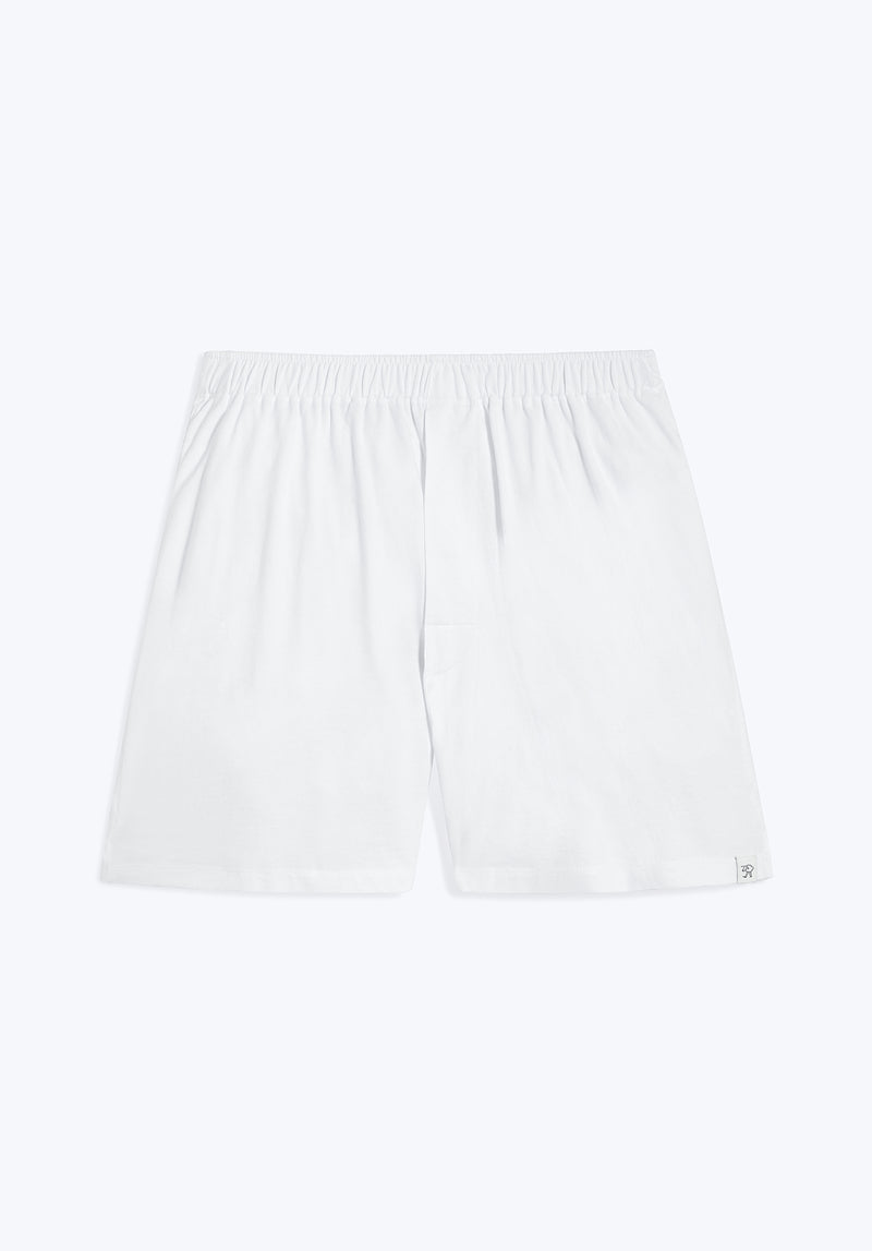 SLEEPY JONES | Gus Boxer White Solid Jersey