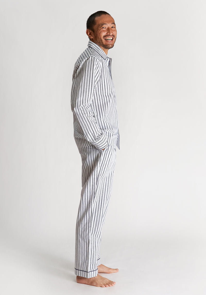 SLEEPY JONES | Henry Pajama Set White & Blue Scribble Stripe