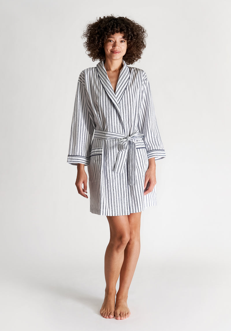 SLEEPY JONES | Isa Short Robe White & Blue Scribble Stripe