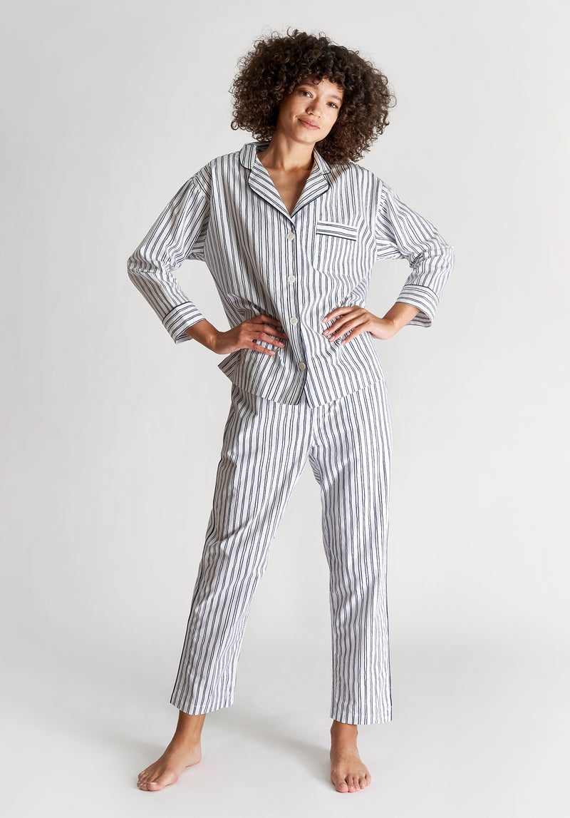 SLEEPY JONES | Marina Pajama Set White & Blue Scribble Stripe