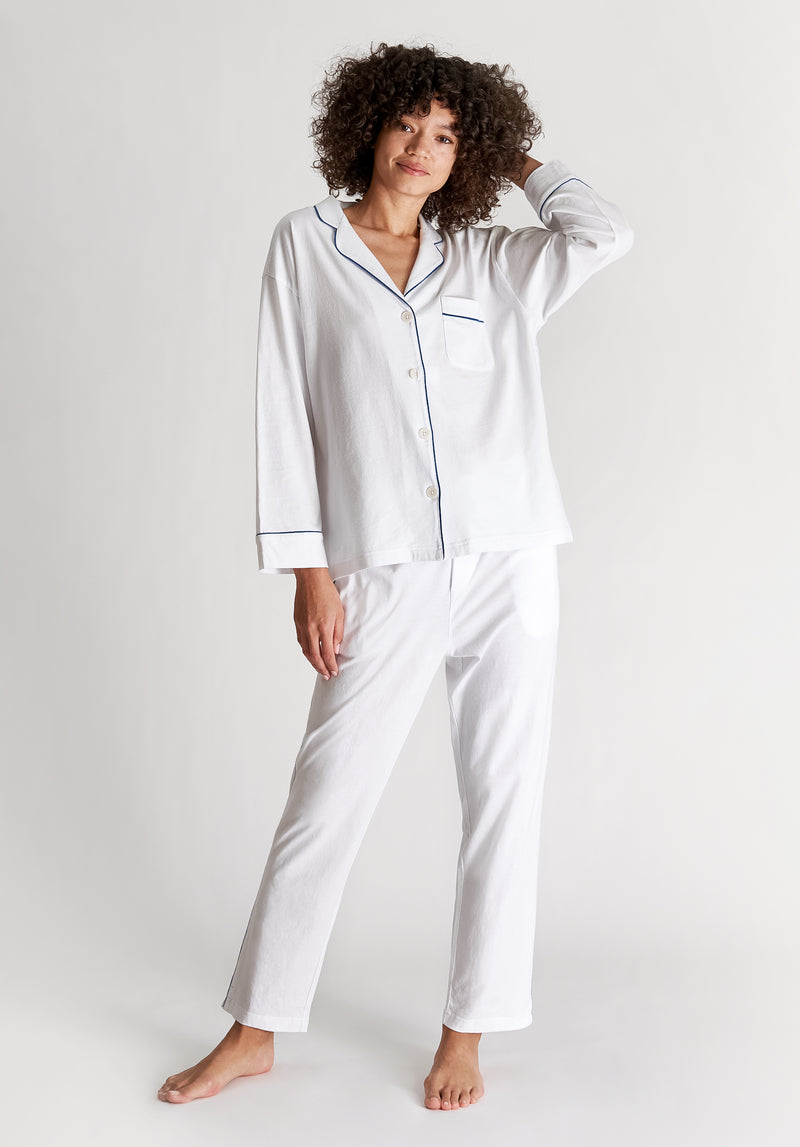 SLEEPY JONES | Knit Marina Pajama Set White Solid Jersey