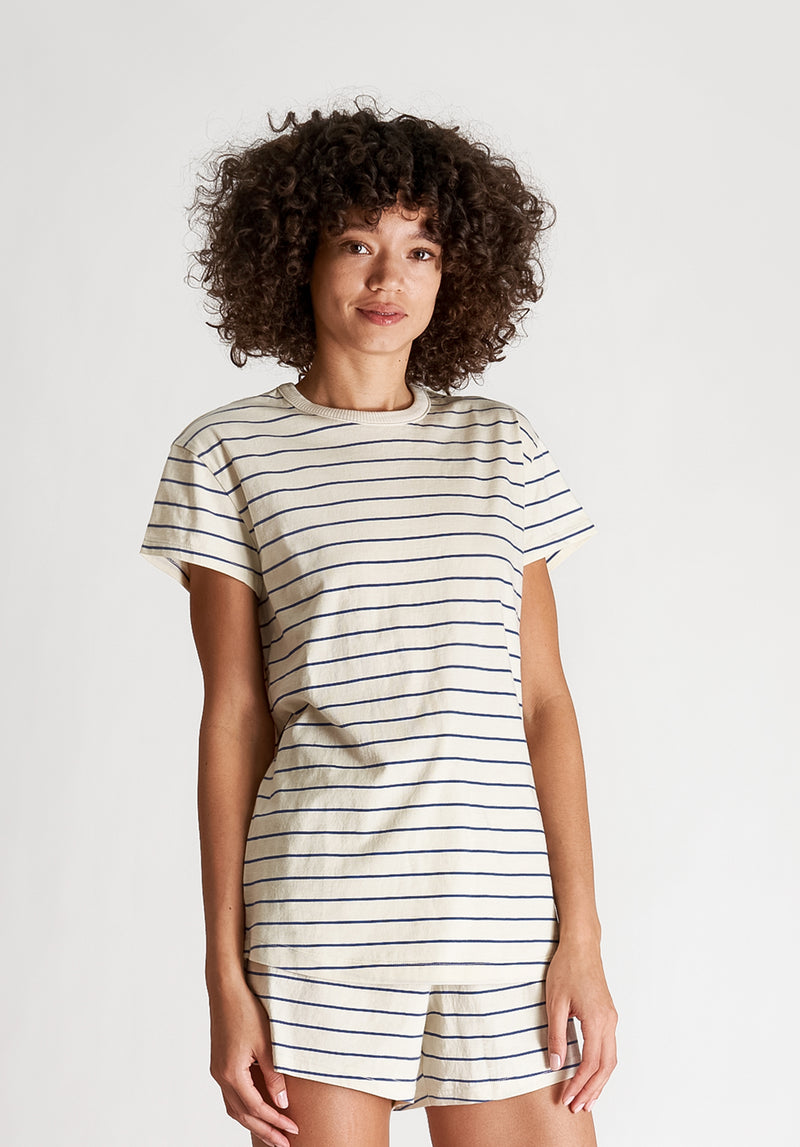 SLEEPY JONES | Pickford T-Shirt Navy & Cream Stripe Jersey