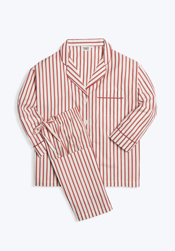 SLEEPY JONES | Marina Pajama Set Red & Cream Breton Stripe