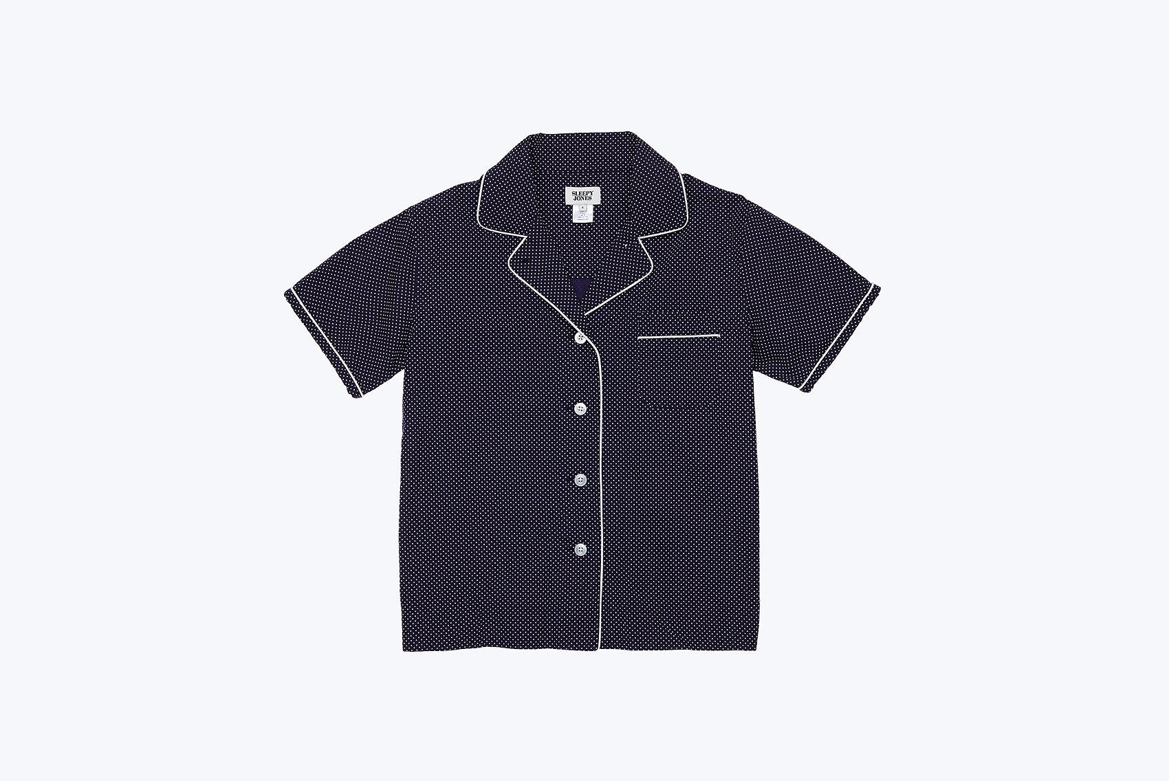 Corita Short Sleeve Pajama Shirt Pindot Navy & White